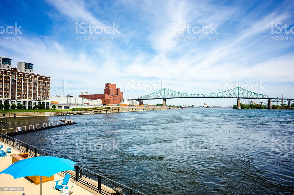 Blue sky over Montreal old port beach stock photo