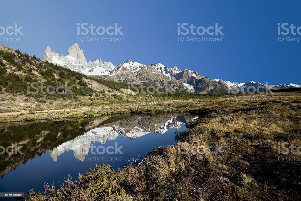 Blue sky over Mount Fitz Roy in Argentina Patagonia stock photo