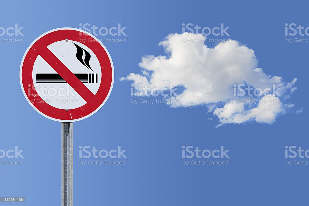 Blue sky over no smoking traffic sign royalty-free stock photo