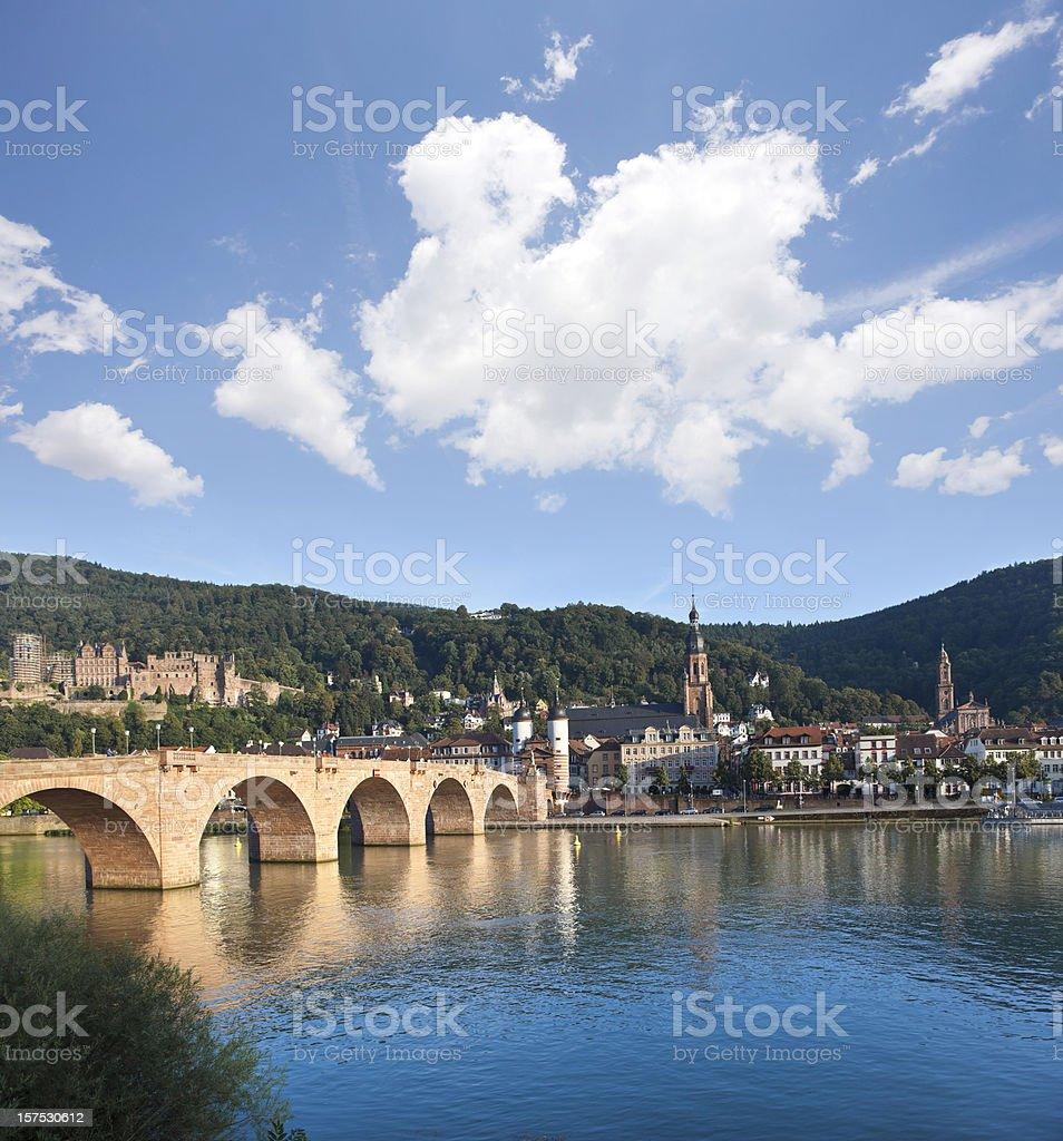 Blue sky over Old Bridge in Heidelberg Germany stock photo