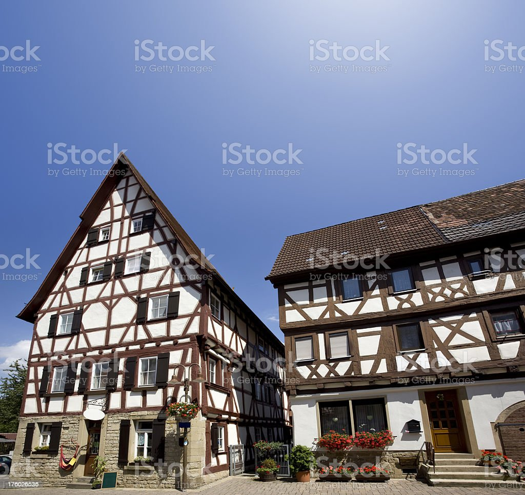 Blue sky over old houses in Eppingen Germany royalty-free stock photo