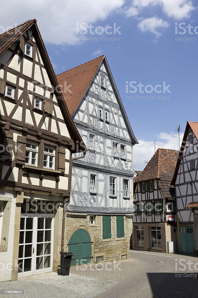 Blue sky over old houses in Eppingen Germany stock photo