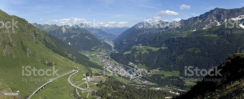 Blue sky over panorama suisse alpes at Gotthard Pass royalty-free stock photo