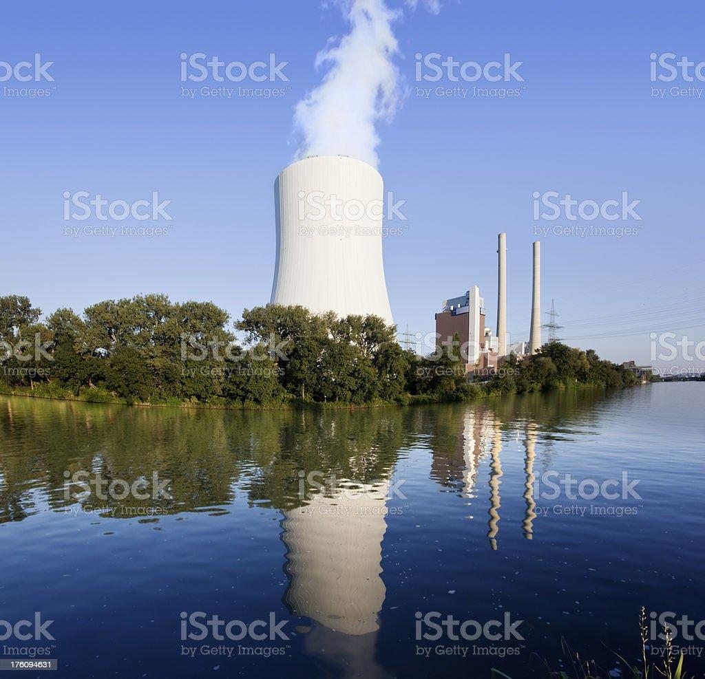 Blue sky over power station stock photo