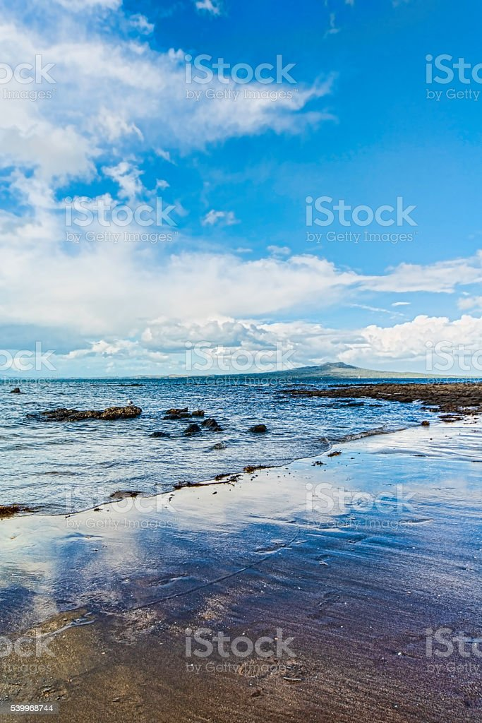 Blue sky over Rangitoto stock photo