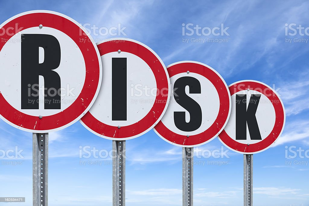 Blue sky over RISK traffic sign royalty-free stock photo