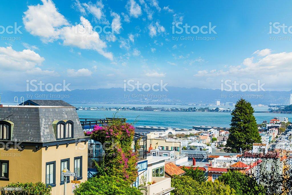 blue sky over San Francisco bay stock photo