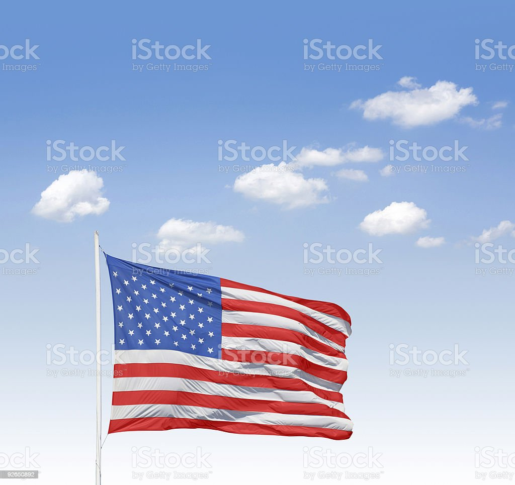 Blue sky over stars and stripes stock photo
