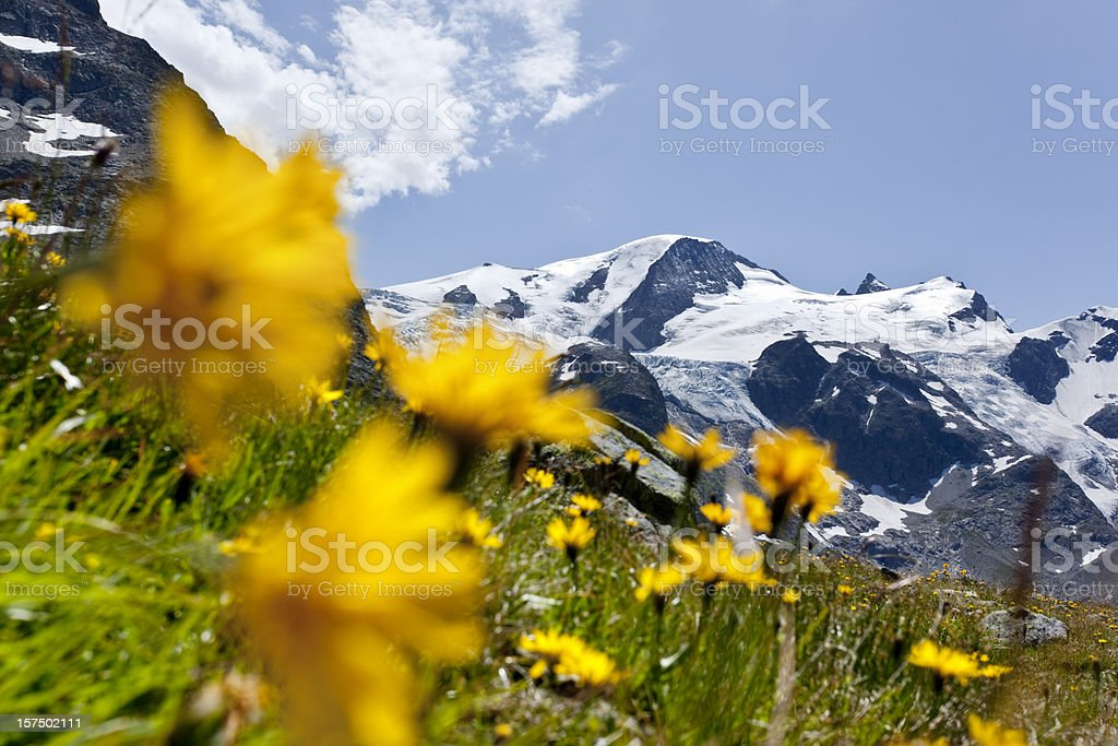 Blue sky over suisse alpes at Sustenpass royalty-free stock photo