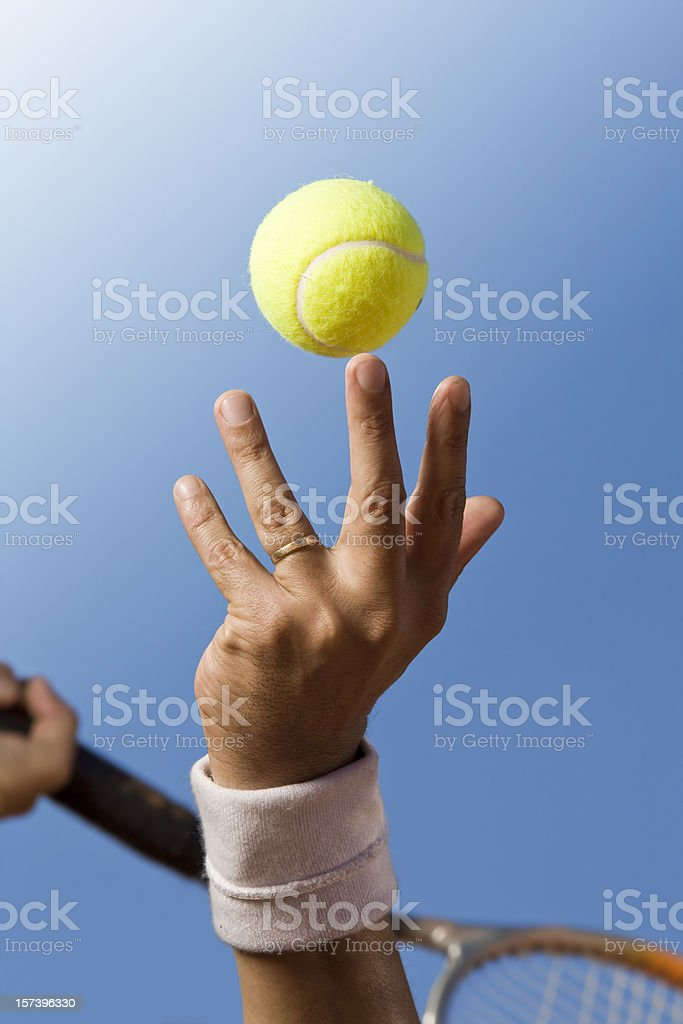 Blue sky over tennis player royalty-free stock photo