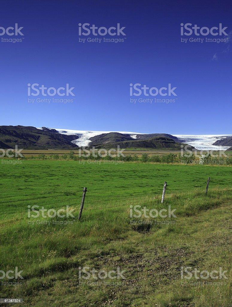 Blue sky over the glacier stock photo