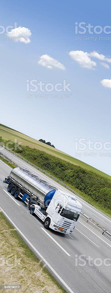 Blue sky over truck on german highway stock photo