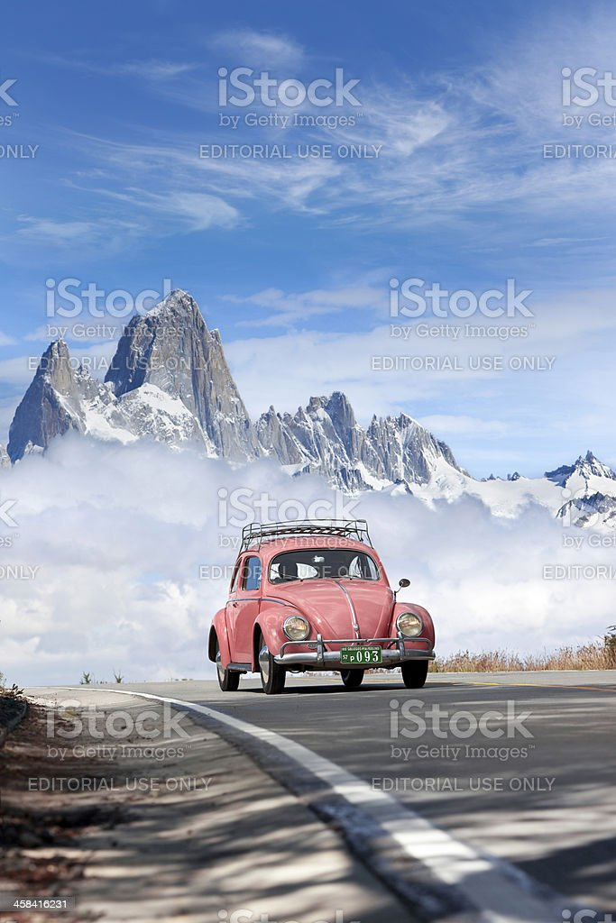 Blue sky over Volkswagen beetle in Patagonia Argentina stock photo