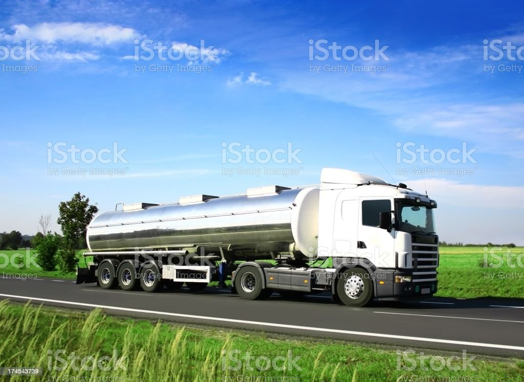 Blue Sky Over White Truck stock photo