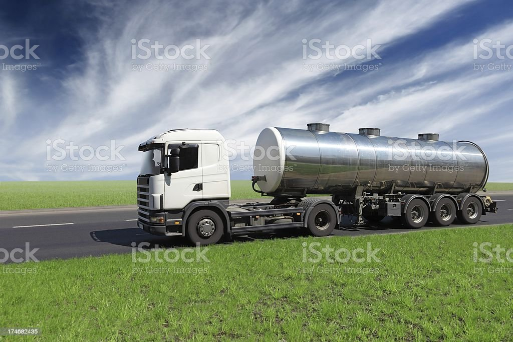 Blue Sky Over White Truck royalty-free stock photo