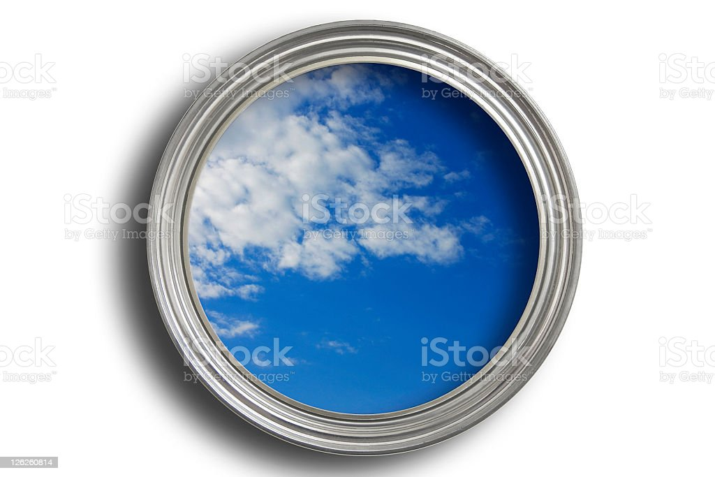Blue sky painted in an open pain tin with path royalty-free stock photo