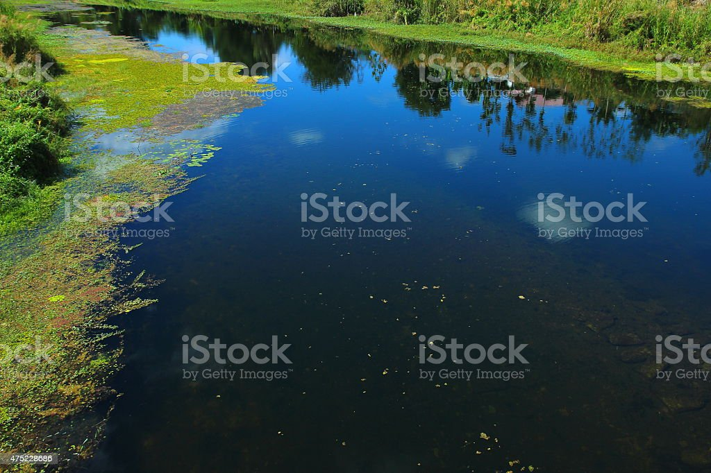 Blue sky reflected on the river. stock photo