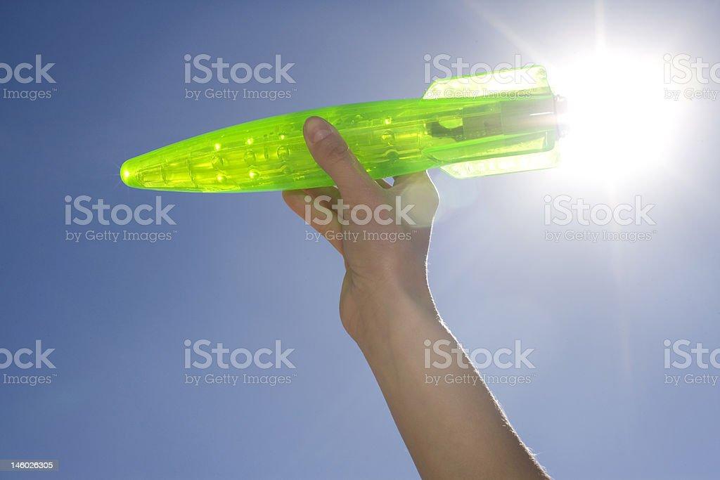 Blue Sky Rocket royalty-free stock photo