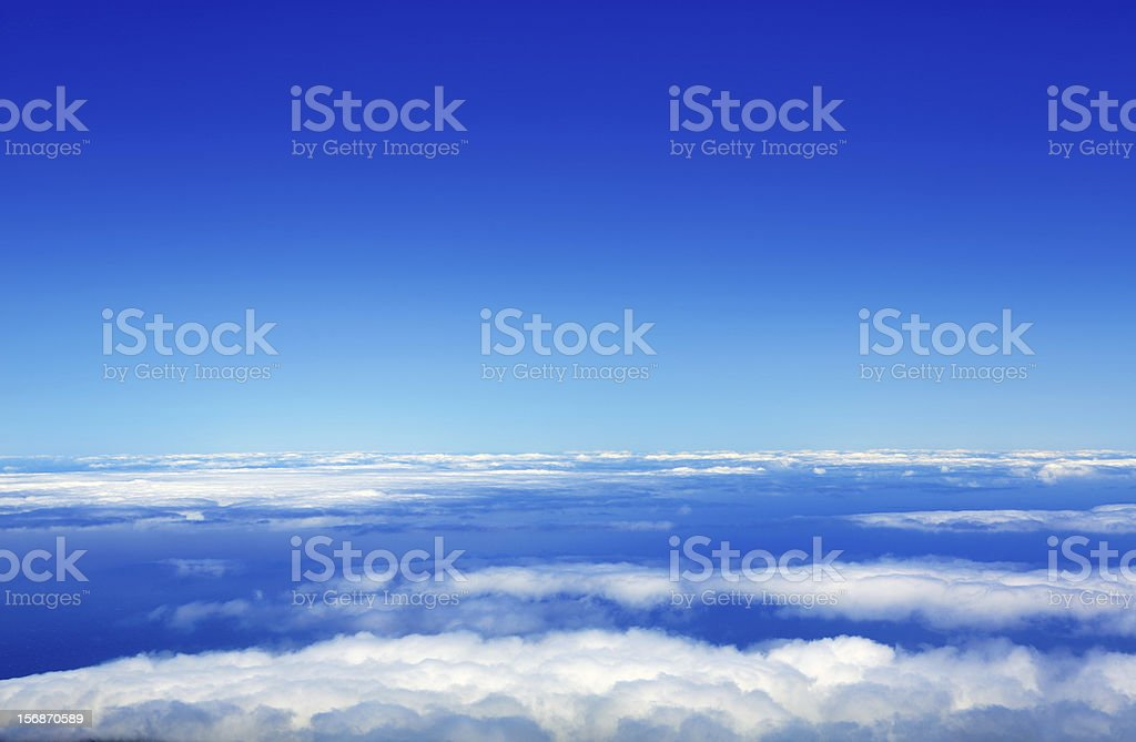Blue sky sea of clouds from high altitude royalty-free stock photo