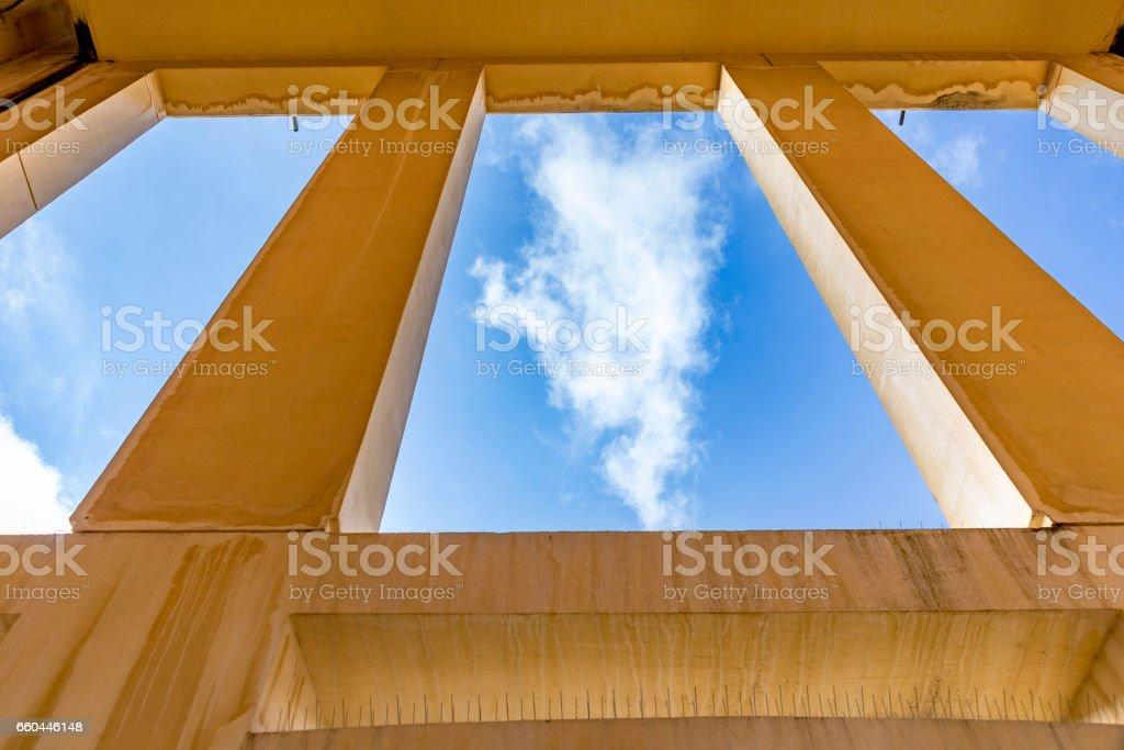 blue sky seen from outdoor window in orange color stock photo