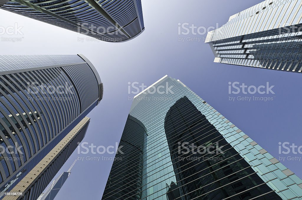 Blue sky skyscrapers downtown financial district stock photo