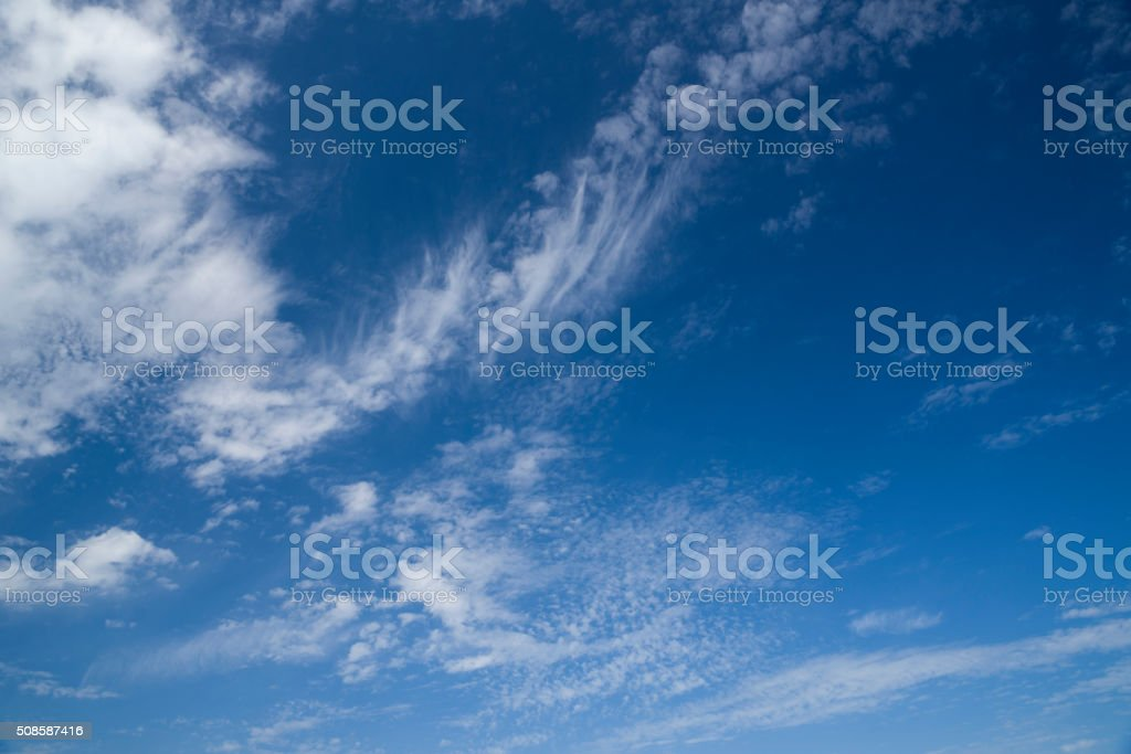 Blue sky summer clouds stock photo