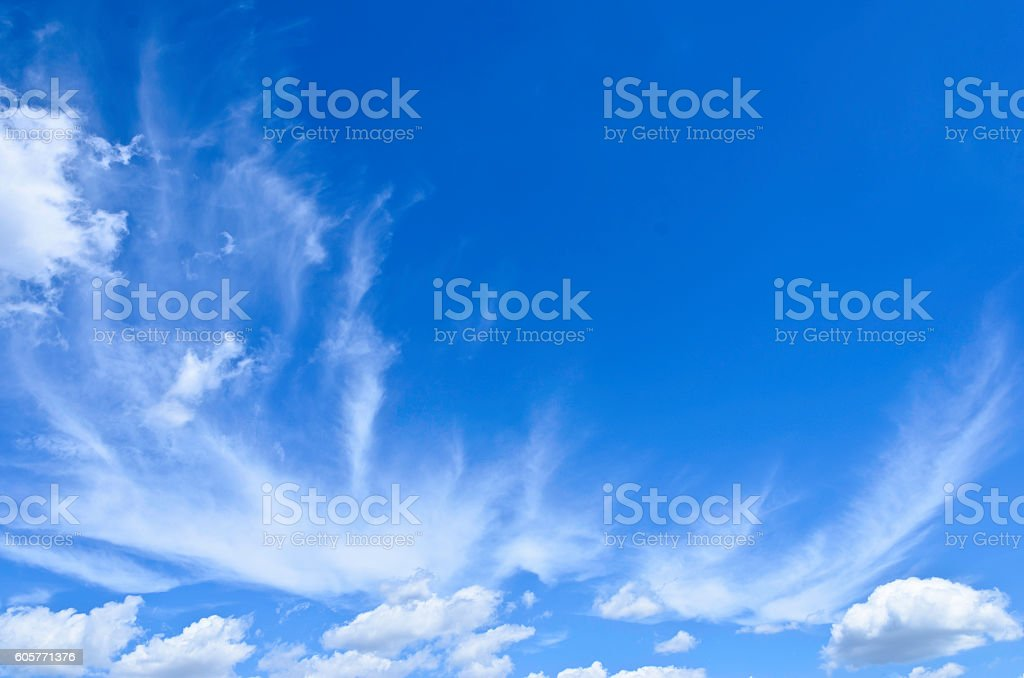 Blue sky with cirrus and cumulus clouds royalty-free stock photo