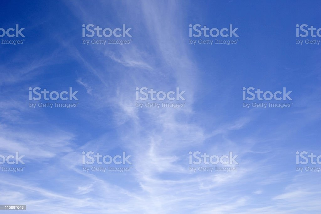 blue sky with cirrus clouds stock photo