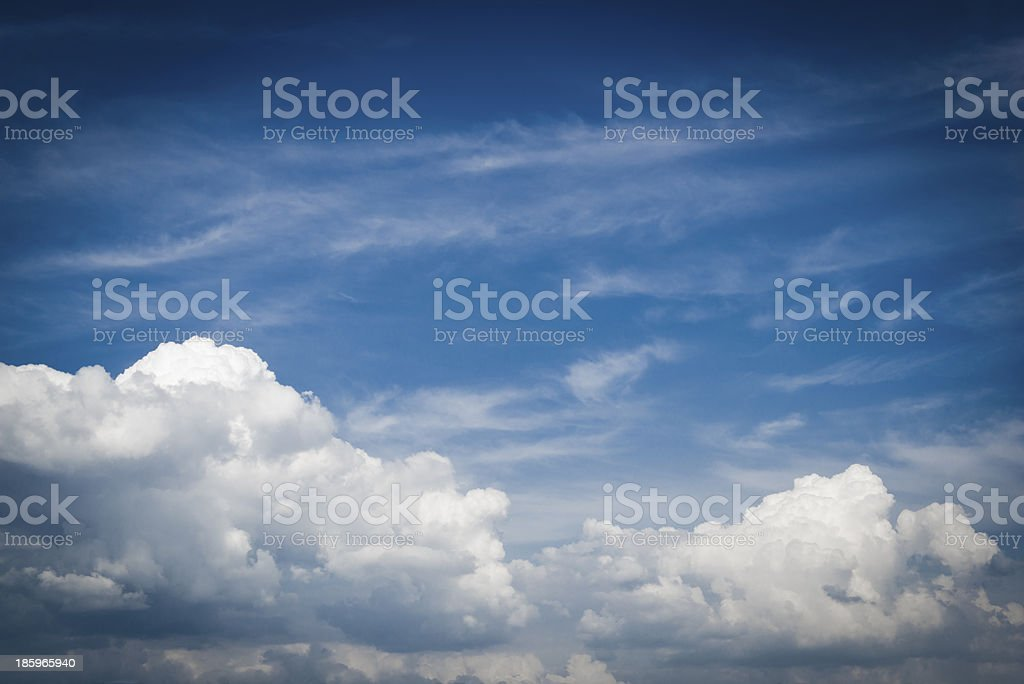Blue sky with clouds closeup royalty-free stock photo