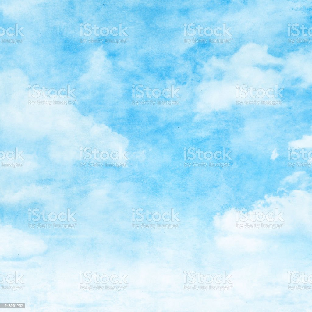 Blue sky with clouds in grunge style. stock photo