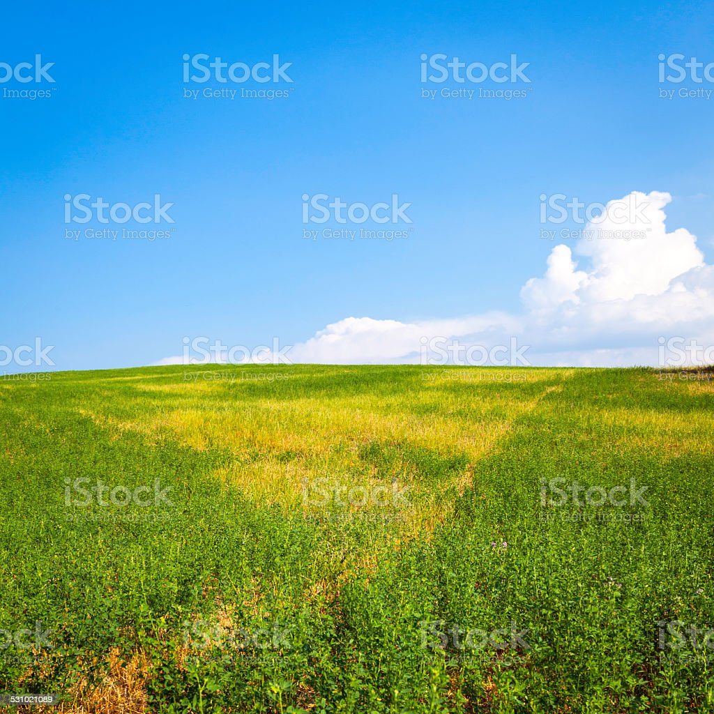 Blue sky with clouds, over a fallow field. Color image stock photo