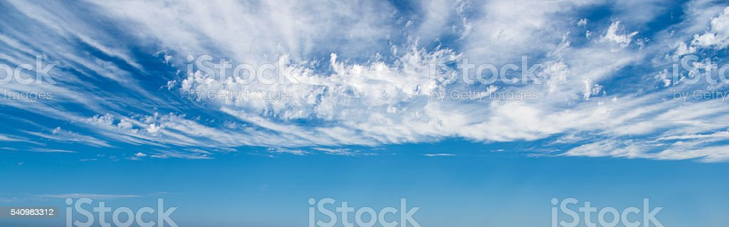 Blue Sky with Clouds Panorama, Background stock photo