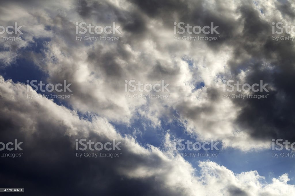 Blue sky with dark clouds royalty-free stock photo