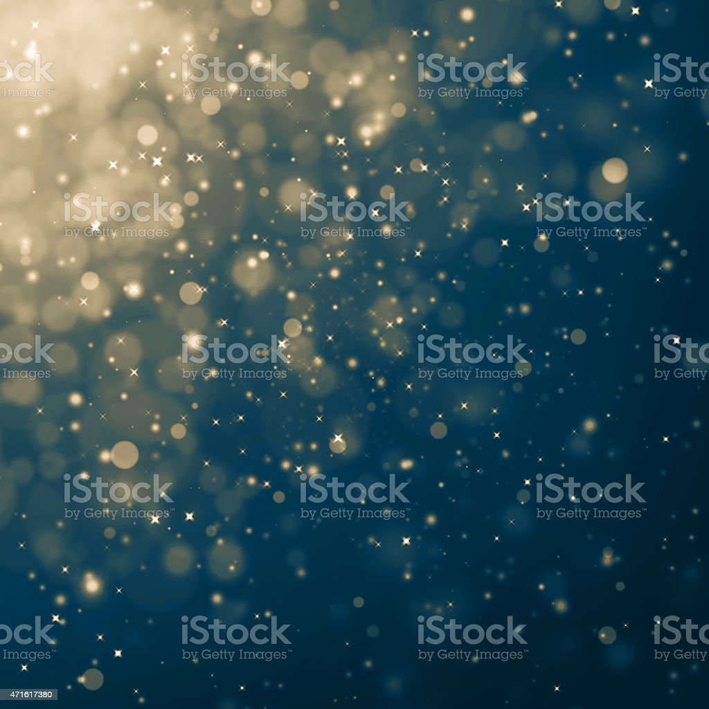 A blue sky with light stars and lights stock photo