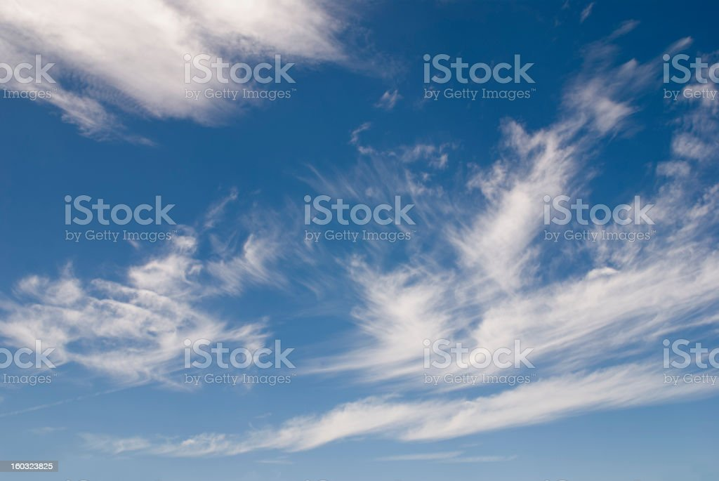 Blue sky with summer cirrus clouds stock photo