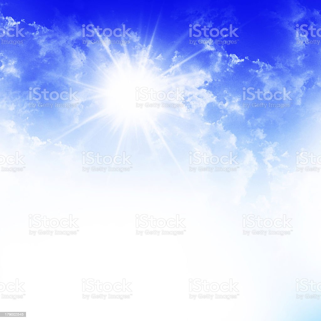 Blue sky with sun and beautiful clouds royalty-free stock photo