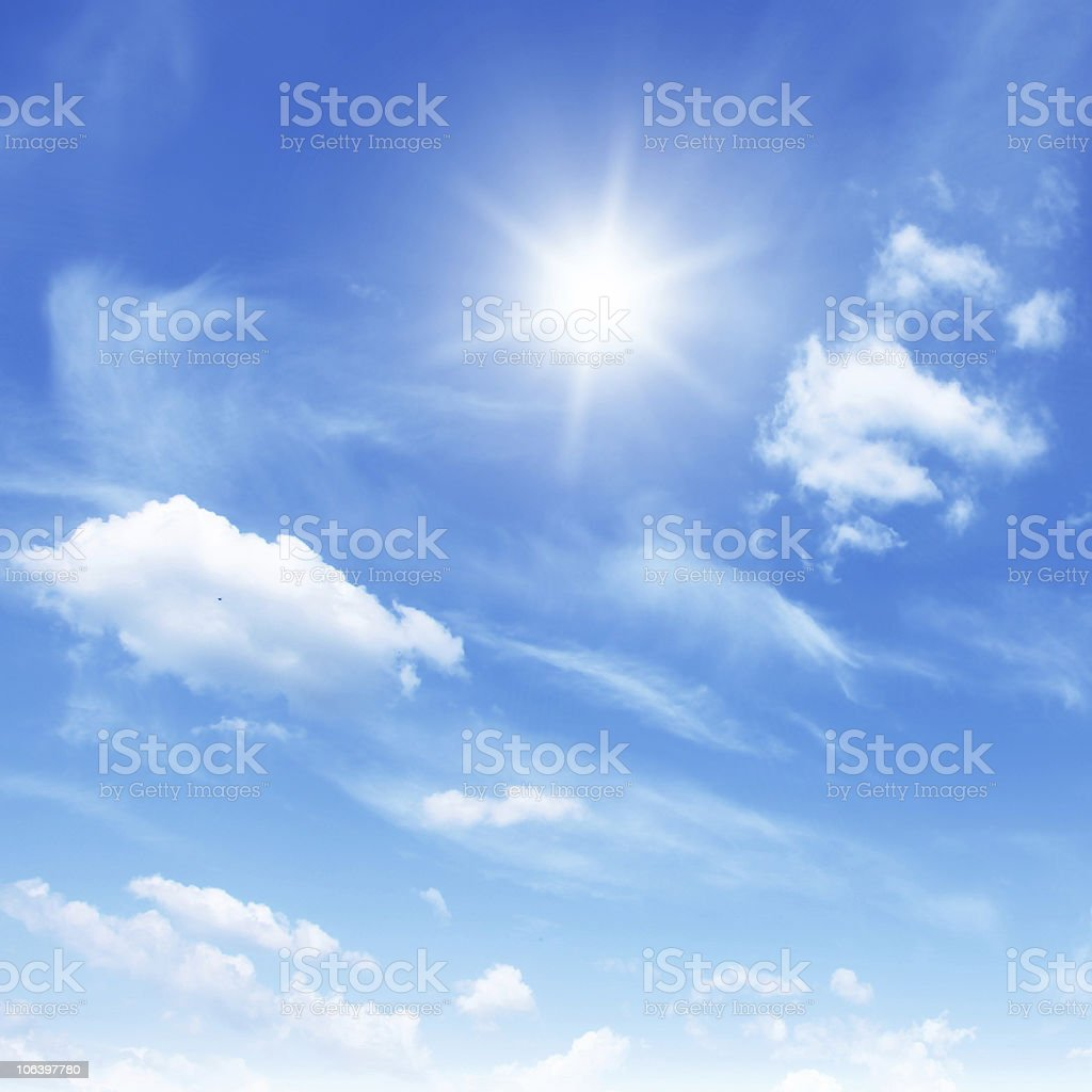 Blue sky with sun. royalty-free stock photo