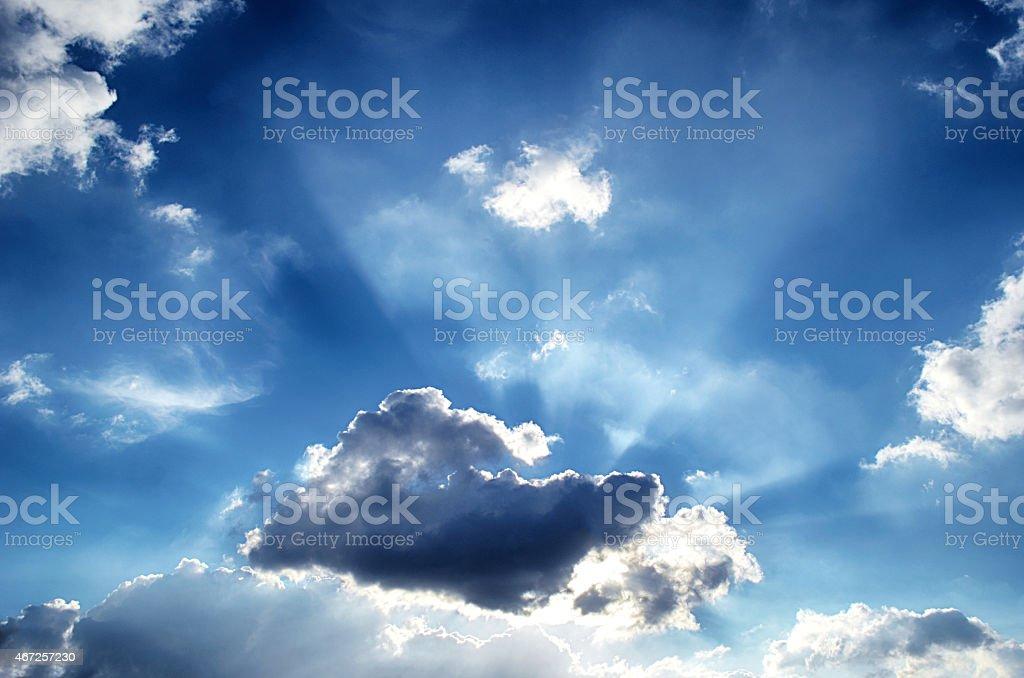 Blue sky with sun white cloud stock photo