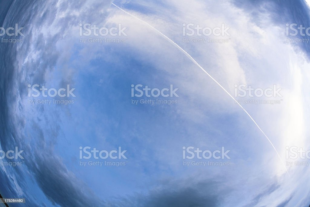 Blue Sky with White Clouds, Fisheye Perspective royalty-free stock photo