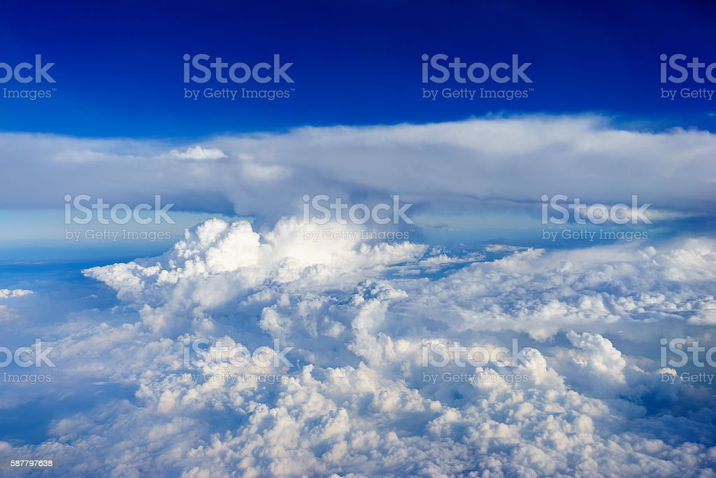 Blue sky with white clouds view from air plane stock photo