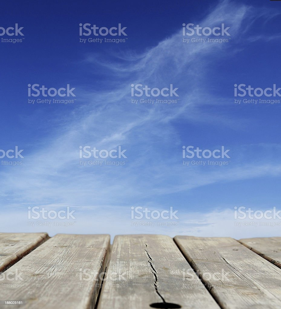 blue sky with wooden floor royalty-free stock photo
