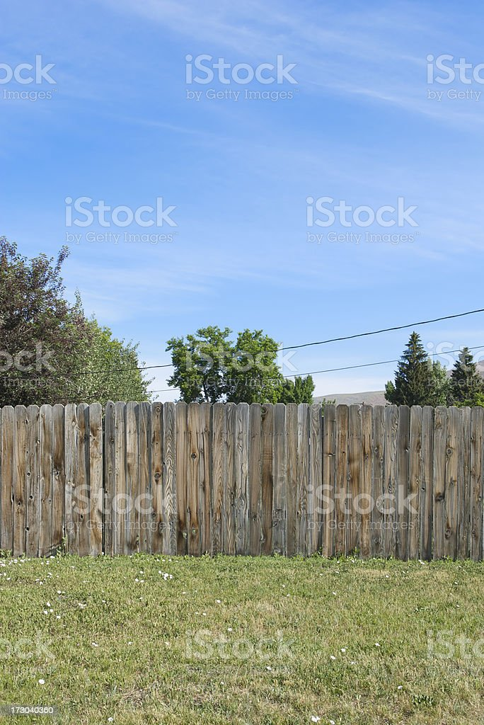 Blue Sky Wood Fence Green Grass Rural America stock photo