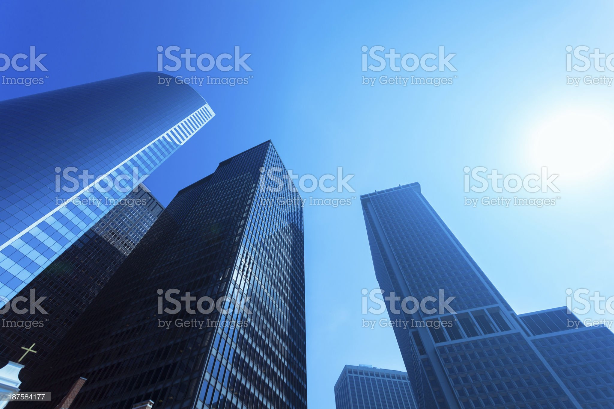 Blue Skyscrapers in Downtown New York City royalty-free stock photo