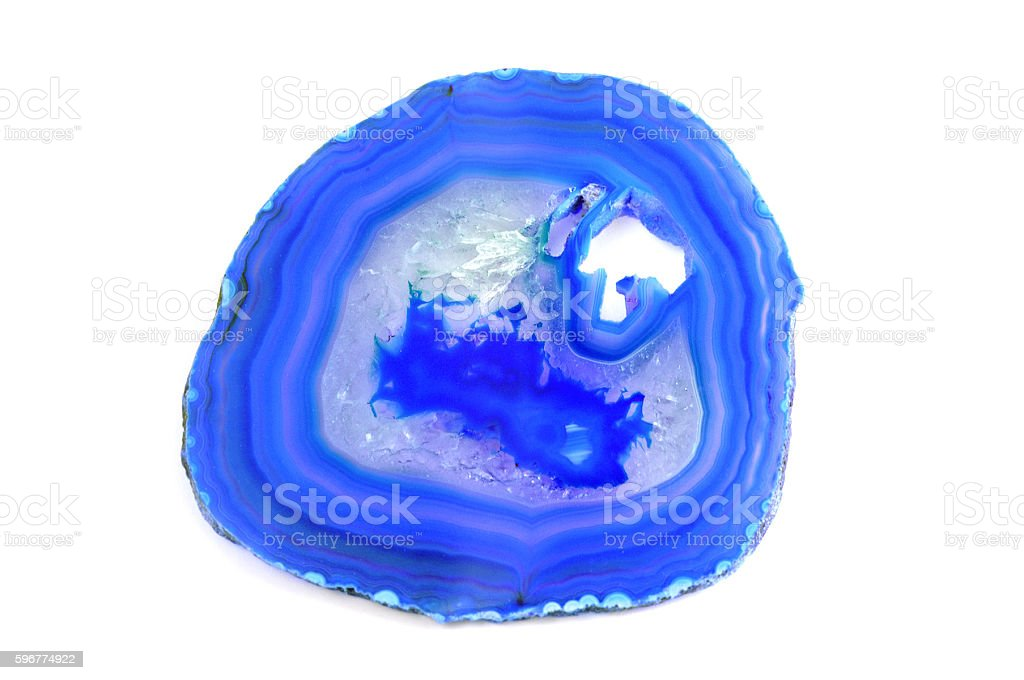 blue sliced agate on isolated white background stock photo
