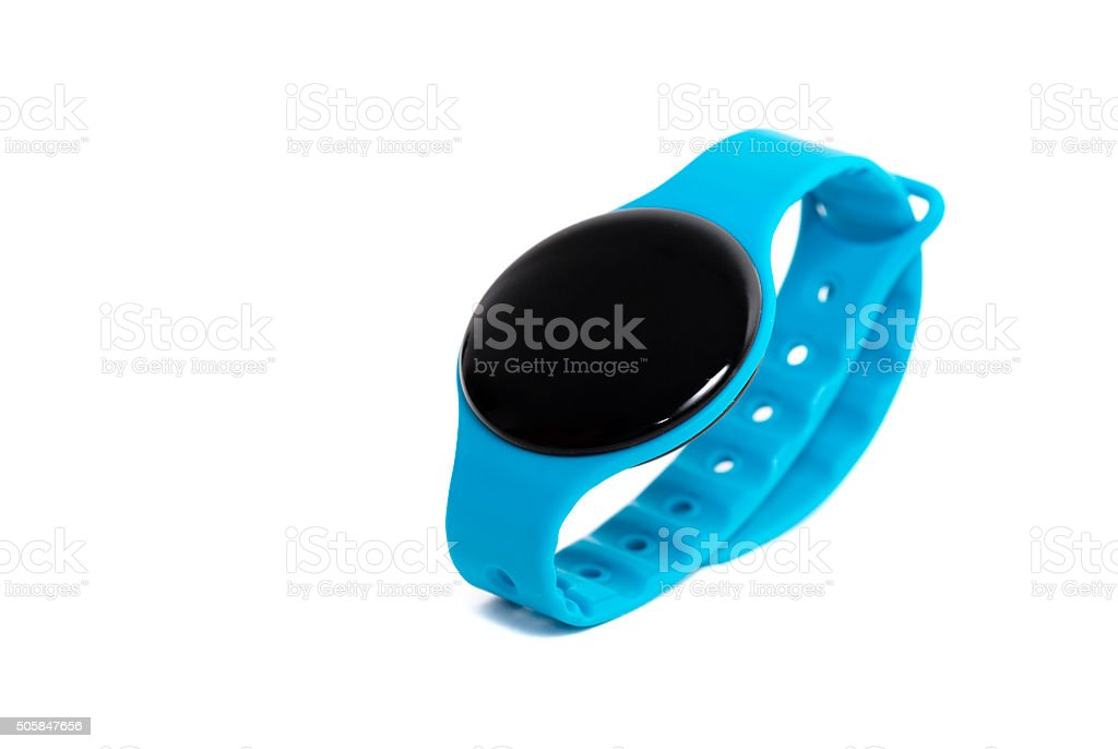 Blue smart watch close up isolated on white background stock photo