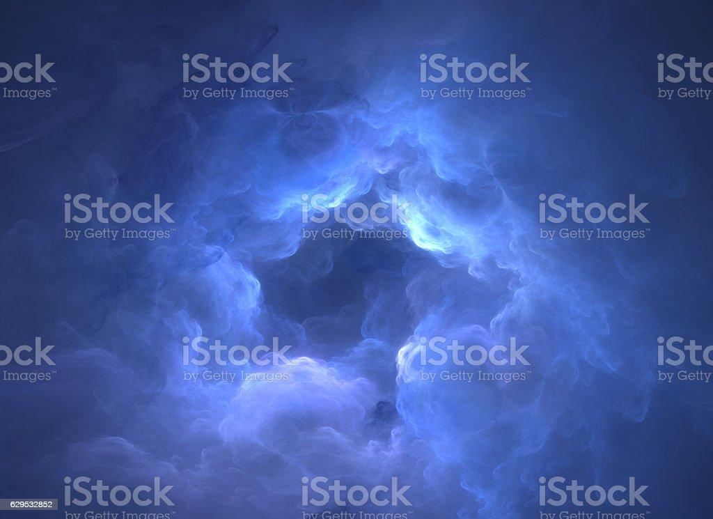 Blue smoke tunnel stock photo