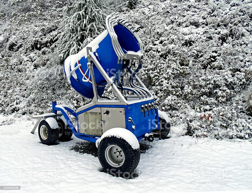 Blue snow gun stock photo