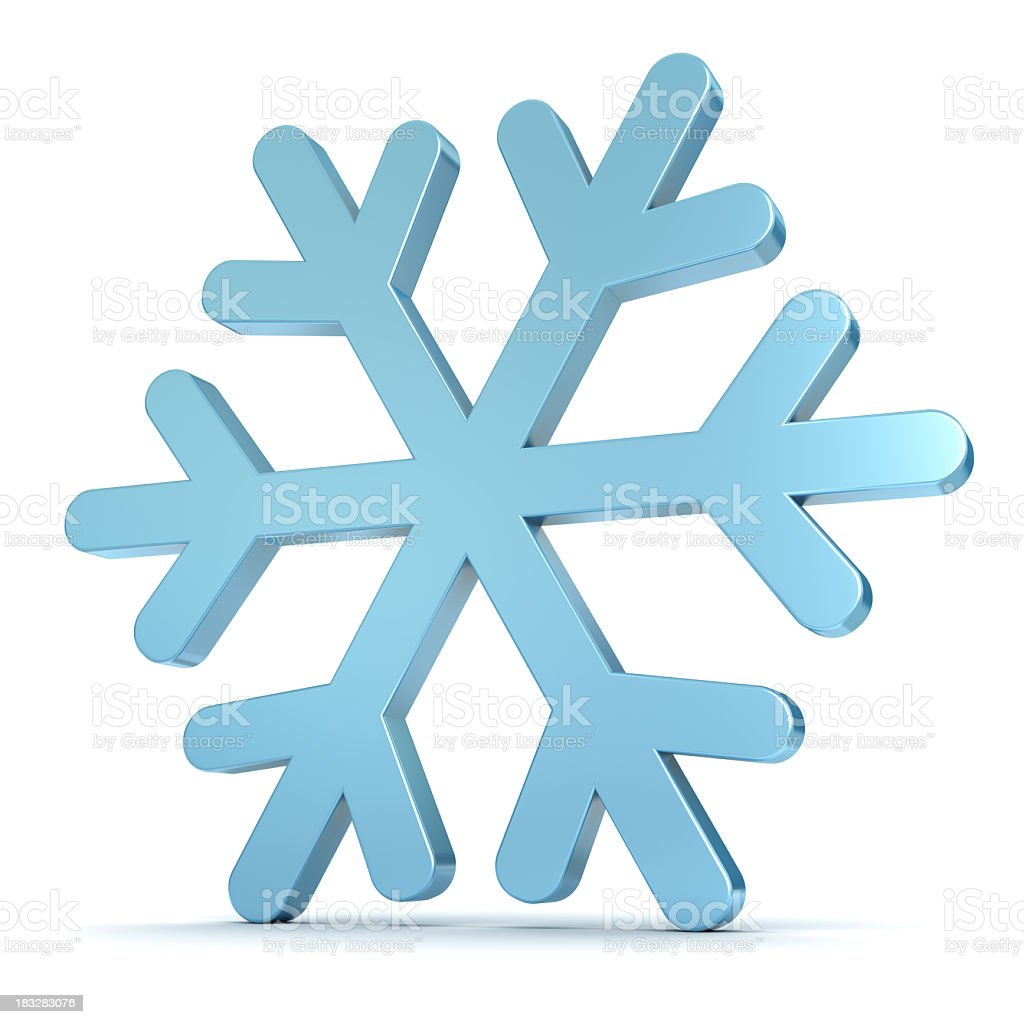 A blue snowflake on a white background stock photo