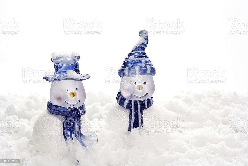 Blue Snowmen royalty-free stock photo
