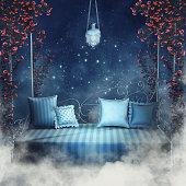 Blue sofa and rose vines